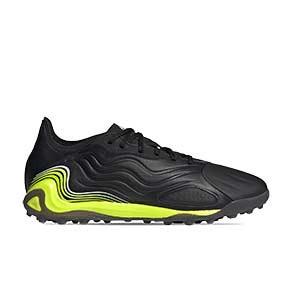 adidas Copa SENSE.1 TF - Zapatillas de fútbol multitaco de piel adidas suela turf - negras y amarillas flúor - pie derecho
