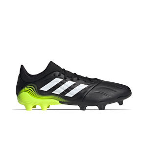 adidas Copa SENSE.3 FG - Botas de fútbol de piel adidas FG para césped natural o artificial de última generación - negras y amarillas flúor - pie derecho