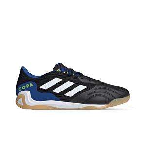 adidas Copa SENSE.3 IN Sala - Zapatillas de fútbol sala adidas suela lisa IN - negras y azules - pie derecho