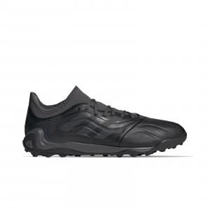 adidas Copa SENSE.3 TF - Zapatillas de fútbol multitaco de piel adidas suela turf - negras - pie derecho