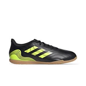 adidas Copa SENSE.4 IN - Zapatillas de fútbol sala adidas suela lisa IN - negras y amarillas flúor - pie derecho