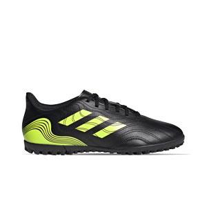 adidas Copa SENSE.4 TF - Zapatillas de fútbol multitaco adidas suela turf - negras y amarillas flúor - pie derecho