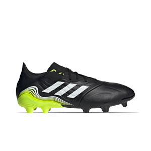 adidas Copa SENSE.2 FG - Botas de fútbol de piel adidas FG para césped natural o artificial de última generación - negras y amarillas flúor - pie derecho