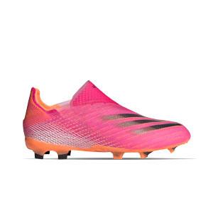 adidas X GHOSTED+ FG J - Botas de fútbol infantiles sin cordones adidas FG para césped natural o artificial de última generación - rosas
