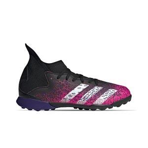 adidas Predator FREAK .3 TF J - Zapatillas de fútbol multitaco con tobillera infantiles adidas suela turf - rosas y negras - pie derecho