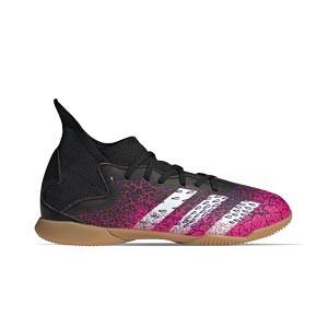 adidas Predator FREAK .3 IN J - Zapatillas de fútbol sala con tobillera infantiles adidas suela lisa IN - rosas y negras - pie derecho