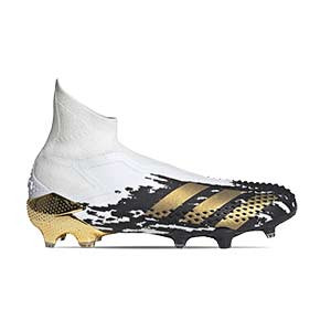adidas Predator Mutator 20+ FG - Botas de fútbol con tobillera sin cordones adidas FG para césped natural o artificial de última generación - blancas y negras - pie derecho