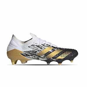 adidas Predator Mutator 20.1 Low SG - Botas de fútbol adidas SG para césped natural blando - blancas y negras - pie derecho