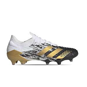 adidas Predator Mutator 20.1 Low FG - Botas de fútbol adidas FG para césped natural o artificial de última generación - blancas y negras - pie derecho