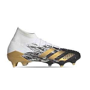 adidas Predator Mutator 20.1 SG - Botas de fútbol con tobillera adidas SG para césped natural blando - blancas y negras - pie derecho