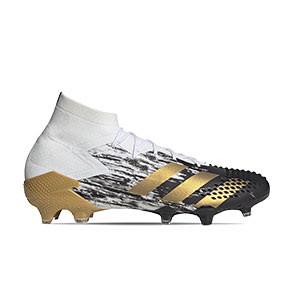 adidas Predator Mutator 20.1 FG - Botas de fútbol adidas con tobillera FG para césped natural o artificial de última generación - blancas y negras - pie derecho