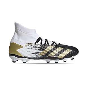 adidas Predator 20.3 MG - Botas de fútbol con tobillera adidas MG para césped artificial - blancas y negras - pie derecho