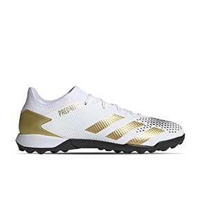 adidas Predator 20.3 Low TF - Zapatillas de fútbol multitaco adidas suela turf - blancas y negras - pie derecho