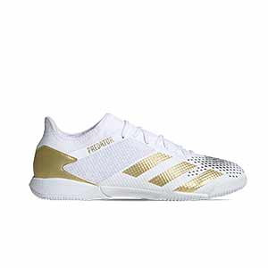 adidas Predator 20.3 Low IN - Zapatillas de fútbol sala adidas suela lisa IN - blancas y negras - pie derecho