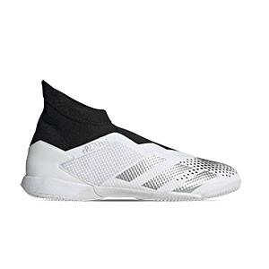 adidas Predator 20.3 LL IN - Zapatillas de fútbol sala con tobillera sin cordones adidas suela lisa IN - blancas y negras - pie derecho