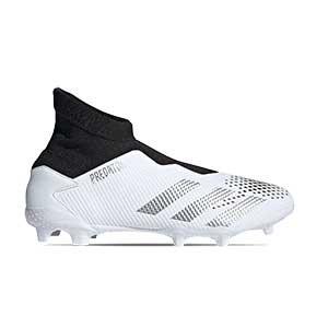 adidas Predator 20.3 LL FG - Botas de fútbol con tobillera sin cordones adidas FG para césped natural o artificial de última generación - blancas y negras - pie derecho