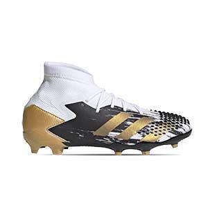 adidas Predator Mutator 20.1 FG J - Botas de fútbol infantiles adidas con tobillera FG para césped natural o artificial de última generación - blancas y negras - pie derecho