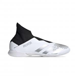 adidas Predator 20.3 LL IN J - Zapatillas de fútbol sala con tobillera sin cordones infantiles adidas suela lisa IN - blancas y negras - pie derecho