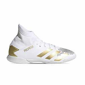 adidas Predator 20.3 IN J - Zapatillas de fútbol sala con tobillera infantiles adidas suela lisa IN - blancas y negras - pie derecho