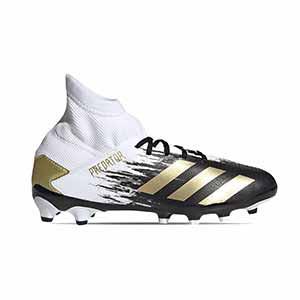 adidas Predator 20.3 MG J - Botas de fútbol con tobillera infantiles adidas MG para césped artificial - blancas y negras - pie derecho