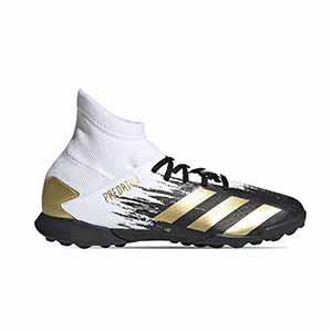adidas Predator 20.3 TF - Zapatillas de fútbol multitaco con tobillera infantiles adidas suela turf - blancas y negras - derecho