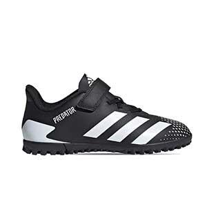 adidas Predator 20.4 H&L TF J - Zapatillas de fútbol multitaco infantiles con velcro adidas suela turf - blancas y negras - pie derecho