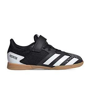adidas Predator 20.4 H&L IN J - Zapatillas de fútbol sala infantiles con velcro adidas suela lisa IN - blancas y negras - pie derecho