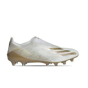 adidas X GHOSTED+ AG - Botas de fútbol sin cordones adidas AG para césped artificial - blanco hueso - pie derecho