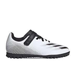adidas X GHOSTED.4 H&L TF J - Botas de fútbol multitaco infantiles con velcro adidas suela turf - blanco hueso - pie derecho