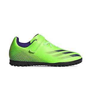adidas X GHOSTED.4 H&L TF J - Botas de fútbol multitaco infantiles con velcro adidas suela turf - verde lima - pie derecho