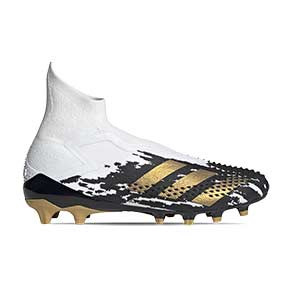 adidas Predator Mutator 20+ AG - Botas de fútbol con tobillera sin cordones adidas FG para césped artificial - blancas y negras - pie derecho