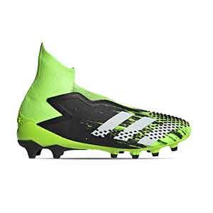 adidas Predator Mutator 20+ AG - Botas de fútbol con tobillera sin cordones adidas AG para césped artificial - verde lima y negras - pie derecho