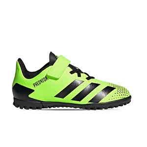 adidas Predator 20.4 H&L TF J - Zapatillas de fútbol multitaco infantiles con velcro adidas suela turf - verde lima - pie derecho