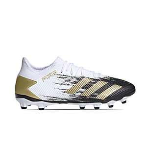 adidas Predator 20.3 Low MG - Botas de fútbol adidas MG para césped artificial - blancas y negras - pie derecho