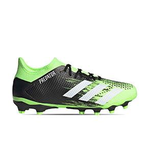 adidas Predator 20.3 Low MG - Botas de fútbol adidas MG para césped artificial - verde lima y negras - pie derecho