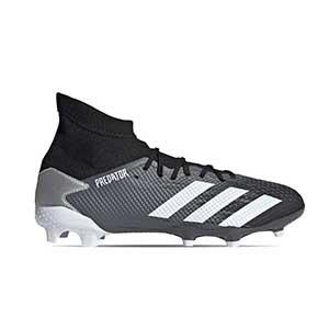 adidas Predator 20.3 FG - Botas de fútbol con tobillera adidas FG para césped natural o artificial de última generación - negras y plateadas - pie derecho