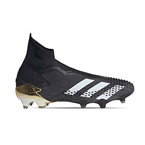 adidas Predator Mutator 20+ FG - Botas de fútbol con tobillera sin cordones adidas FG para césped natural o artificial de última generación - negras y doradas - pie derecho