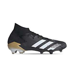 adidas Predator Mutator 20.1 FG - Botas de fútbol con tobillera adidas FG para césped natural o artificial de última generación - negras y doradas - pie derecho