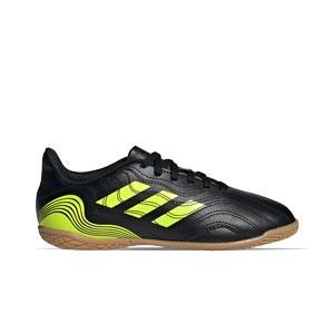 adidas Copa SENSE.4 IN J - Zapatillas de fútbol sala para niño adidas suela lisa IN - negras y amarillas flúor - pie derecho