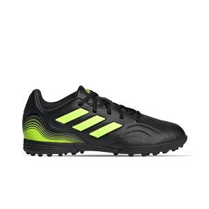 adidas Copa SENSE.3 TF J - Zapatillas de fútbol multitaco para niño adidas suela turf - negras y amarillas flúor - pie derechoº