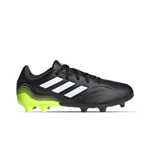 adidas Copa SENSE.3 FG J - Botas de fútbol para niño adidas FG para césped natural o artificial de última generación - negras y amarillas flúor - pie derecho