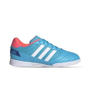 adidas Super Sala J - Zapatillas de fútbol sala para niño adidas suela lisa - azul celeste - pie derecho