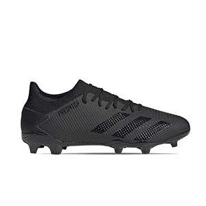 adidas Predator 20.3 Low FG - Botas de fútbol adidas FG para césped natural o artificial de última generación - negras - pie derecho