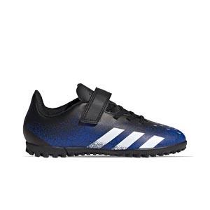 adidas Predator FREAK .4 H&L TF J - Zapatillas de fútbol multitaco infantiles con velcro adidas suela turf - azul marino y amarillas - pie derecho