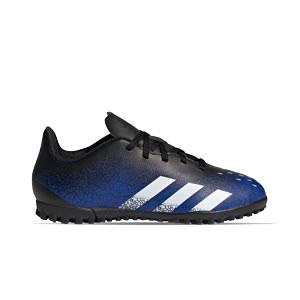 adidas Predator FREAK .4 TF J - Zapatillas de fútbol multitaco infantiles adidas suela turf - azul marino y amarillas - pie derecho