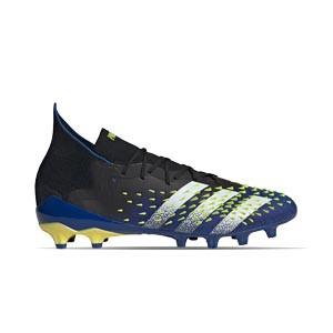 adidas Predator FREAK .1 AG - Botas de fútbol con tobillera adidas AG para césped artificial - azul marino y amarillas - pie derecho