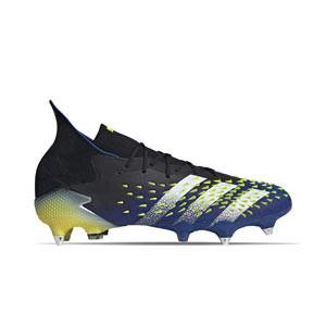adidas Predator FREAK .1 SG - Botas de fútbol con tobillera adidas SG para césped natural blando - azul marino y amarillas - pie derecho