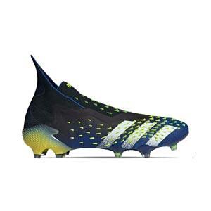 adidas Predator FREAK + FG - Botas de fútbol con tobillera sin cordones adidas FG para césped natural o artificial de última generación - azul marino y amarillas - pie derecho