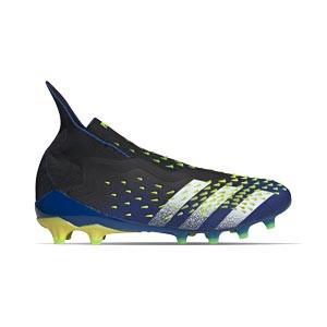 adidas Predator FREAK + AG - Botas de fútbol con tobillera sin cordones adidas AG para césped artificial - azul marino y amarillas - pie derecho