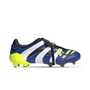 adidas Predator Accelerator FG - Botas de fútbol de piel de canguro adidas FG para césped natural o artificial de última generación - azul marino y amarillas - pie derecho